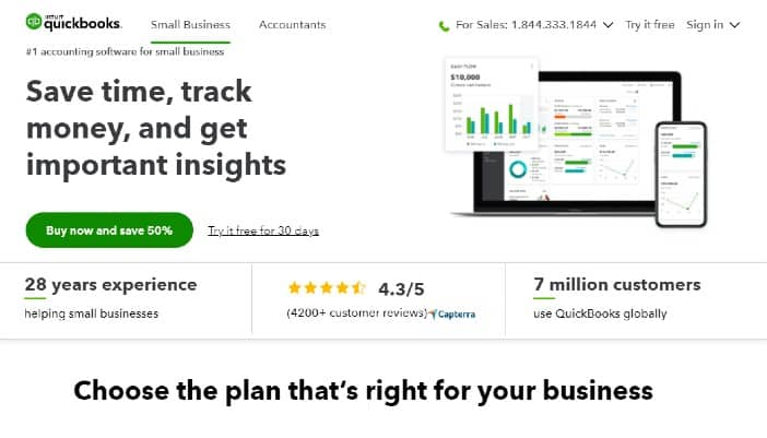 Intuit Quickbooks Online - Best accounting software for small businesses