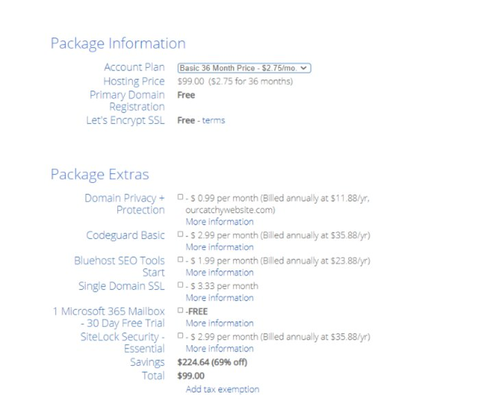 Bluehost Package Information and Package Extras Details Tosinajy