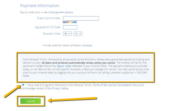 Bluehost Payment Information Details Tosinajy