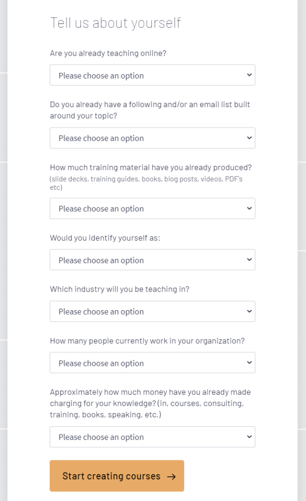 Thinkific Account Creation Questionaire Page Tosinajy