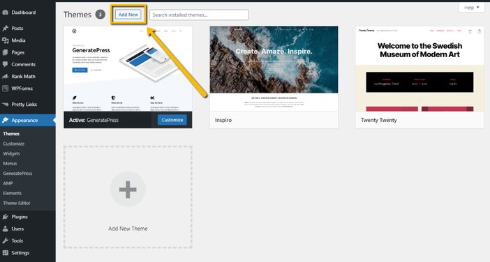 WordPress Installed Themes Page Tosinajy