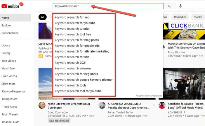 YouTube autocomplete keyword suggestions Tosinajy